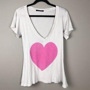 wildfox t-shirt pink heart -soft  lightweight